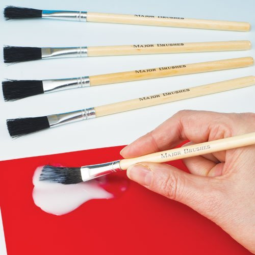 Hog Bristle Paste Brushes Flat Tipped, Short Wooden Handle for Children's Craft Projects (Pack of 10) by Baker Ross