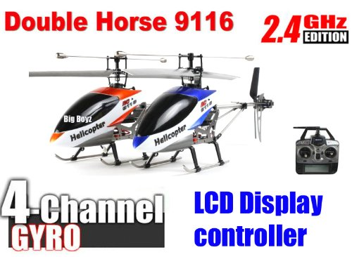 Double Horse 9116 Helicopter 2.4G Hz Single Blade 4CH RC Gyro with 2 free battery !