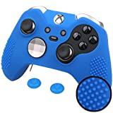 Pandaren® STUDDED silicone cover skin anti-slip for Both Xbox One Elite & Standard controller x 1(blue) + thumb grips x 2