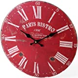 Paris Bistro Red Shabby Chic Style Wall Clock