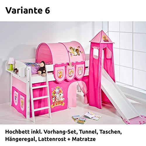 Hochbett Spielbett IDA Filly, mit Turm, Rutsche und Vorhang, weiß, Variante 6
