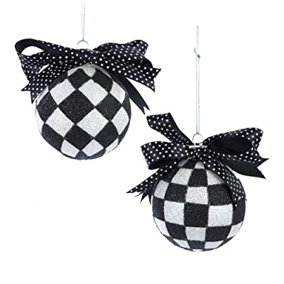 Glass Black and White Checkered with Ribbon Christmas Ornaments 3.25