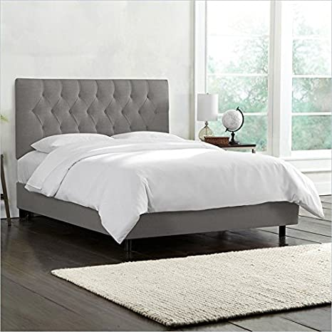 Skyline Furniture Tufted Bed in Gray - Queen