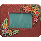 Khushboo's Quilling Art  Hand Made Paper Photo Frame (26 Cm X 21 Cm X 02 Cm , Magenta And Green )