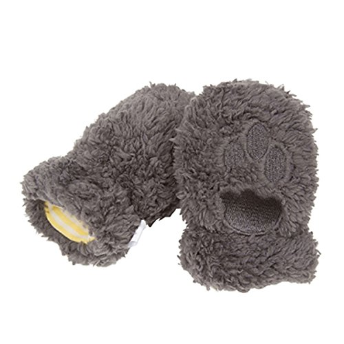 Magnificent Baby Mittens Unisex Fleece Outside Lined / Magnet Clips 6-12 Gray