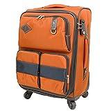 スーツケース サイレント4輪 ソフトキャリー拡張機能 大容量多機能ポケット TAS搭載 40104 (M-40104, オレンジ)