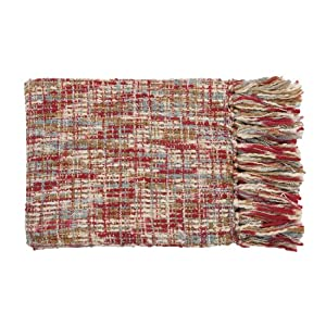 "50"" x 60"" Golden Sunset Red and Sky Blue Throw Blanket"
