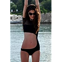 TBS Women's Black Hollow-out Short Sleeves One-piece Swimwear