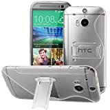 Evecase S-Line Slim TPU Case with Kick-Stand for 2014 New HTC One (M8) (Vodafone , (3) three , O2 Versions Compatible) - Frosted Clear