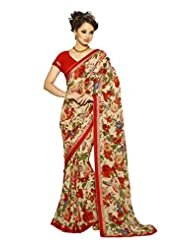 AG Lifestyle Beige & Red Georgette Saree With Unstitched Blouse SNS229B