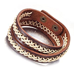 Amazon.com: Trendy Mens Jewelry Deep Brown Genuine Leather