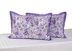 Swayam Drape and Dream Printed Cotton 2 Piece Pillow Cover Set - Purple (PC02-1427 )
