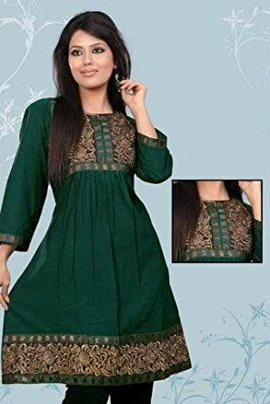 Pintuck & Embroidered Work Ladies Blouse Tunic Top Kurta Kurti