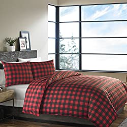Eddie Bauer 210707 Mountain Plaid Duvet Cover Set, Full/Queen, Scarlet Red