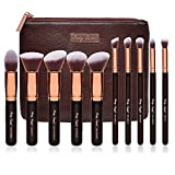 Party Queen Premium Makeup Brush Set Classic 10Pcs Rose Golden Kabuki Brush Cosmetic Kit + Luxurious Coffee Leather Case - Supreme Quality For Flawless Beauty