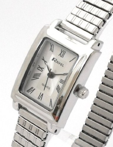 Ladies/Womens Silver Roman Numerals Expanding/Expander/Expansion Bracelet Band Watch (R0303.07.2)