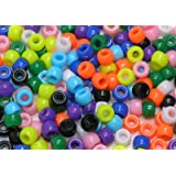 Asst Coloured Plastic Pony/Barrel Beads - 1000pkby CI
