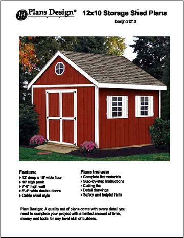 12 39 x 10 39 gable storage shed project plans design 21210 for Gable storage shed plans