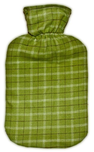 Warm Tradition Green Plaid Cotton Flannel Covered Hot Water Bottle - Bottle Made In Germany, Cover Made In Usa