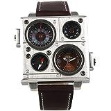 Readeel® Brown Military Army Men Boy Sport Leather Dual Time Zone Wrist Watch Quartz Movt