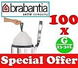 100 x 23-30L Litre Brabantia Smartfix Bin Liners Waste Bags Sacks Type G 5.6-6 UK Gal