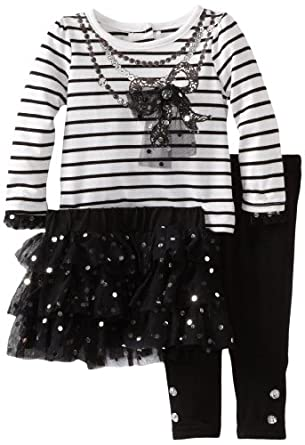 Young Hearts Baby Girls' 3 Piece Bow Skirt Set, Black, 12 Months