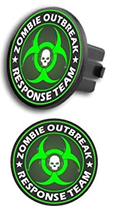 "Zombie Outbreak Response Team with Skull round 2"" Tow Trailer Hitch Cover Plug Truck Pickup RV obtained from SA"