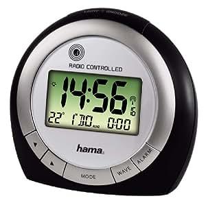 """Hama """"RC400"""" Travelling Alarm Clock, 2xAA, Plata/Negro - Despertador"""