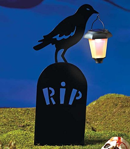 NEW Halloween Silhouettes with Solar Lantern Witches Caldron Ghost Tombstone RIP (Expedite Ship) (Tombstone)