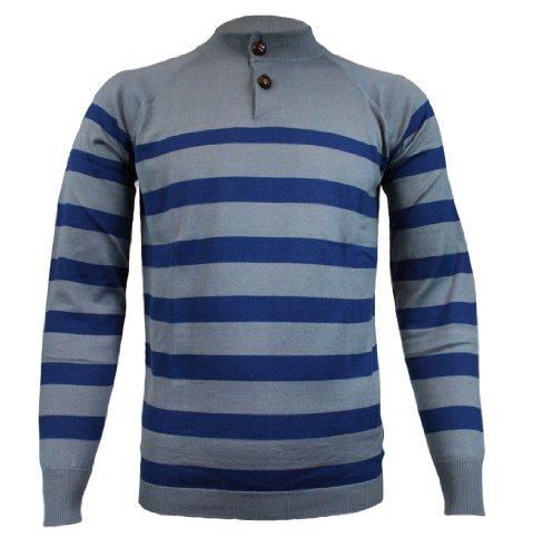 John Smedley Fagan Mens Striped Polo Jumper SS11 Duke Blue S