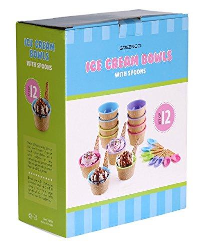 Greenco Couleurs vives Lot de 12 coupes à glace + cuillères