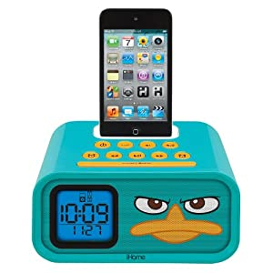 "eKids Phineas and Ferb ""Agent P"" Dual Alarm Clock and 30-Pin iPod Speaker Dock, by iHome - DF-H22"