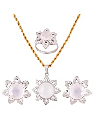 Mariya Impex Classic Collection Silver Pendant Necklace Set For Women - B00YHWMP5U