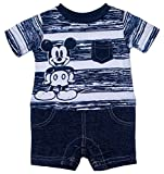 Disney White, & Blue Mickey Mouse Baby Boys Romper Outfit