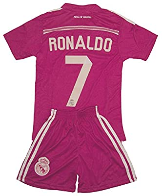Real Madrid Ronaldo #7 2014 Pink Jersey & Shorts Kit (M (Ages 6-7))