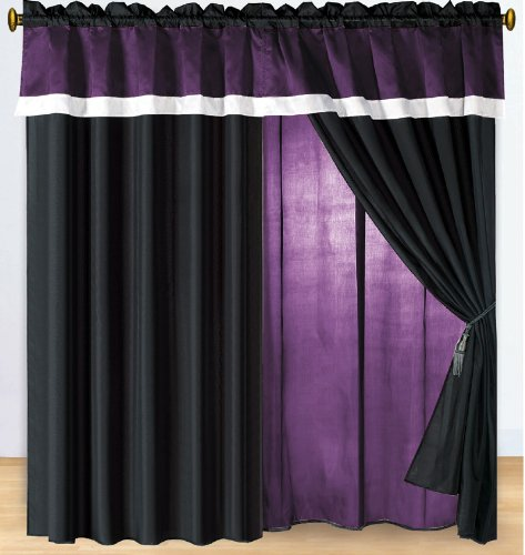 Modern Black, White, Purple Hampton Window Curtain / Drape Set With Sheer Backing 120-By-84-Inch front-998300