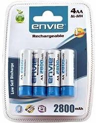Envie 4xAA 2800mAH Ni-MH Rechargeable Batteries
