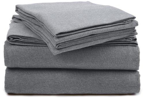 Pinzon Heather Jersey Sheet Set - Twin Extra-Long, Light Grey Heather