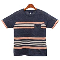 In'crewsive インクルーシブ リネンボーダー クルーネック Tシャツ 半袖 メンズ(男性用)