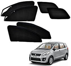 Auto Pearl - Premium Quality Zipper Magnetic Sun Shades Car Curtain For - Maruti Suzuki Ertiga Old Model - Set of 6 Pcs