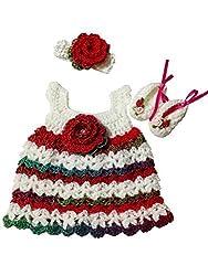 MiC Crafts Baby Girl 3 Piece Set White, Red, Green Preemie