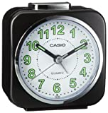 Casio TQ143-1 Alarm Clock with Light and Snooze, Black