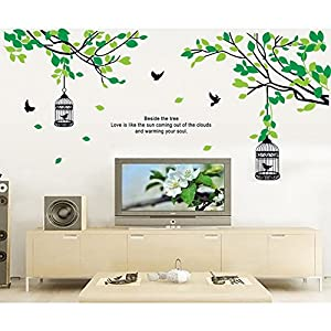 Qianxing removable cycle-usable flower and tree theme wallpaper wall sticker leisure style beautiful scenery Wall Decal for house home living room mural Decoration(bird and cage II)(155*70) by Qianxing