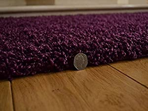 Soft Touch Shaggy Plum Thick Luxurious Soft 5cm Dense Pile Rug. Available in 7 Sizes from Rugs Supermarket