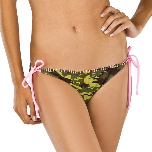Green/Brown/Pink Side Tie Camouflage Swim Bottom