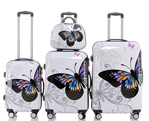 Beibye 2060rigida custodia da viaggio Set in 12disegni, XL, L, M, Valigetta E Set Butterfly 4er Set(XL+L+M+S)