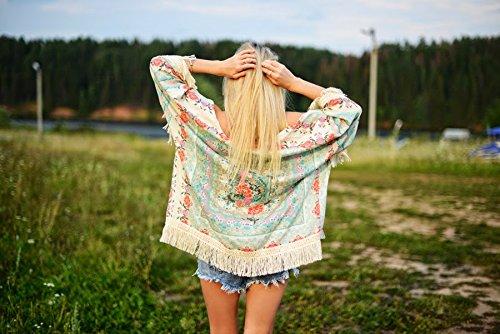 Persun Women Vintage Floral Fringe Kimono Cardigan Jacket Blouse 6