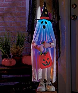 Lighted Color Changing Halloween Trick or Treater Ghost Kid Jack O Lantern Pumpkin Candy Bag Witch Hat Greeters Haunted House Decor by knl store