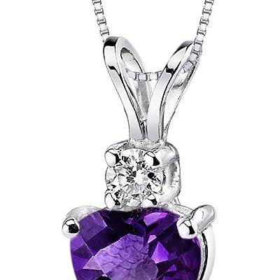 Revoni 14ct White Gold Heart Shape Gemstone Diamond Pendant Necklace