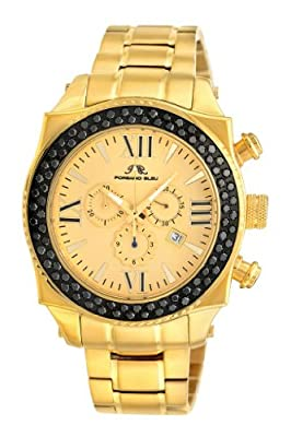 Porsamo Bleu Milan G Noir Stainless Steel Gold Tone & Black Men's Diamond Watch 073CMIS